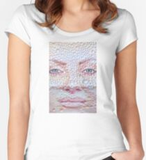 Pretty girl face against transparent water drips as background. Women's Fitted Scoop T-Shirt