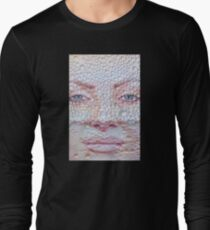 Pretty girl face against transparent water drips as background. Long Sleeve T-Shirt