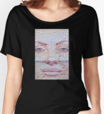 Pretty girl face against transparent water drips as background. Women's Relaxed Fit T-Shirt