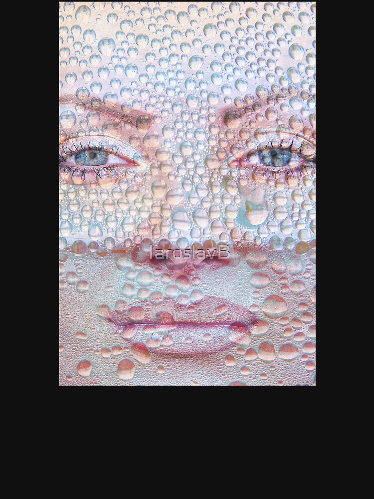 Pretty girl face against transparent water drips as background. by IaroslavB