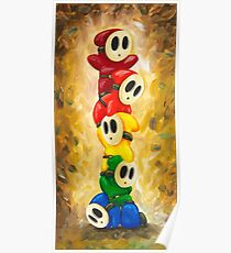 Rainbow of Shy Guys! Super Mario Bros Fan Art Poster