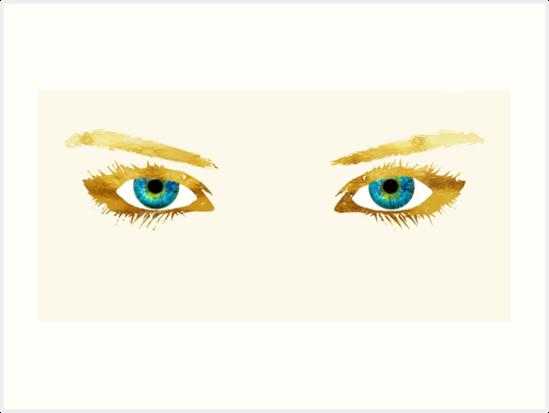 Bedroom Eyes Blue Eyes Gold Lashes Art Prints By Glimmersmith