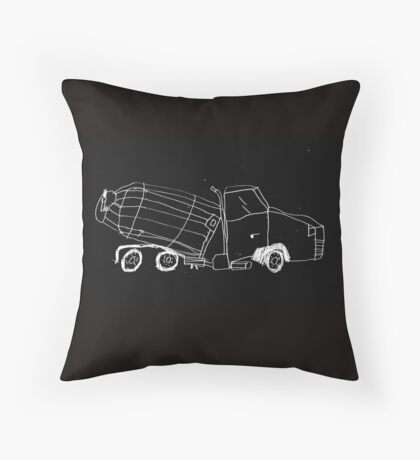 a cement mixer drawn by a kid Throw Pillow