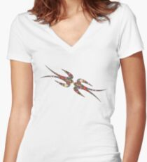 'Yen Zhi' Swallows Spring Flowers Women's Fitted V-Neck T-Shirt
