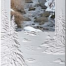 Beautiful Winter Stream in Textured Frame by toots