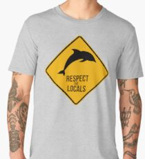 Respect the dolphins - Caution sign Men's Premium T-Shirt