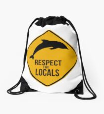 Respect the dolphins - Caution sign Drawstring Bag