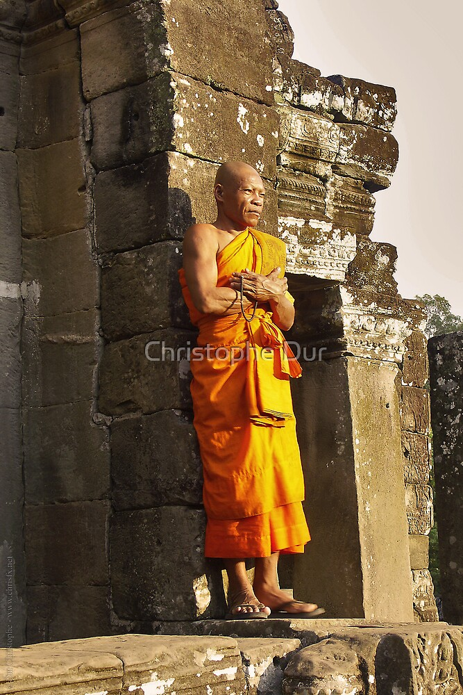 Monk in front of Sun - Cambodia by Christophe Dur