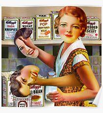 Post Vintage Dinner Lady. Poster