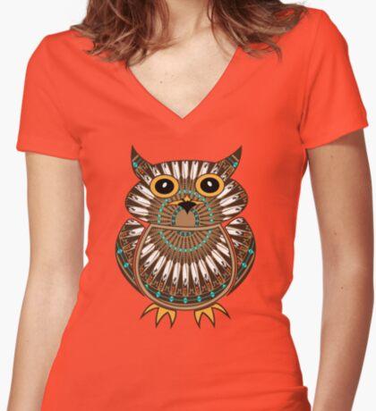 Owl - The Messenger  Women's Fitted V-Neck T-Shirt