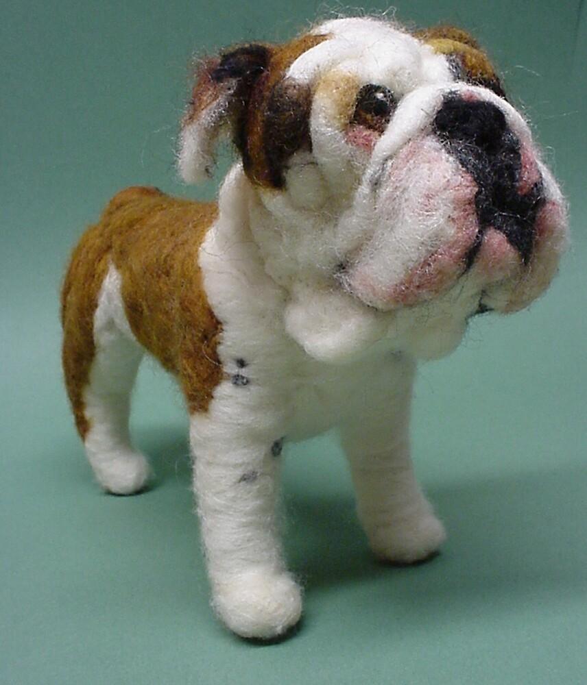 Needle Felted Wool Portrait of Boz the English Bulldog by Amelia  Santiago