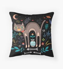 Floral and Cat at night Floor Pillow