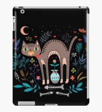 Floral and Cat at night iPad Case/Skin