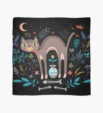 Floral and Cat at night Scarf