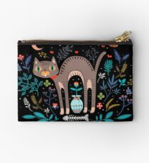 Floral and Cat at night Studio Pouch
