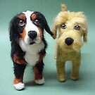 needle Felted Wool Portrait of Callaway the Bernese Mountain Dog and Griffin the Labradoodle by Amelia  Santiago