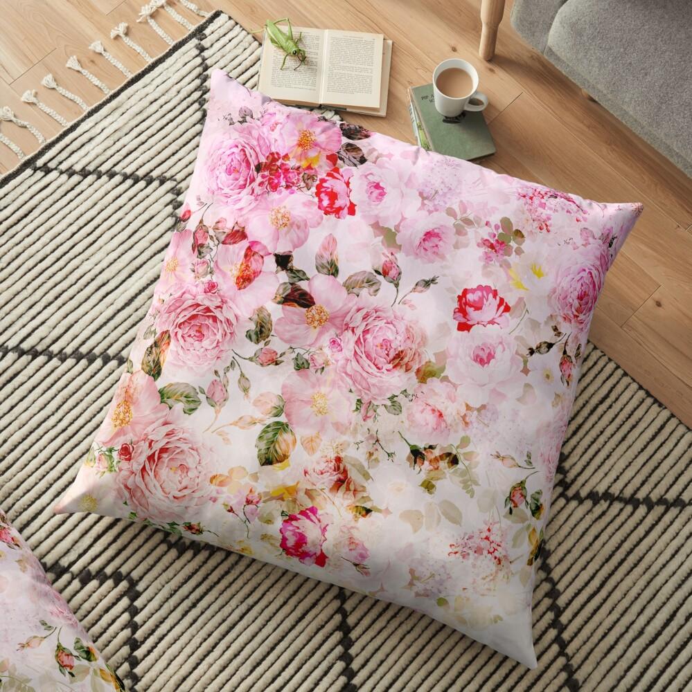 Patrón de acuarela en colores pastel rosa vintage Cojines de suelo