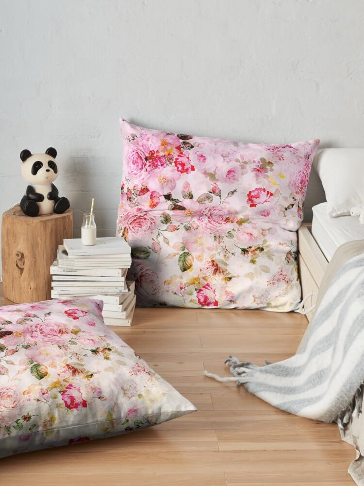 Vista alternativa de Cojines de suelo Patrón de acuarela en colores pastel rosa vintage