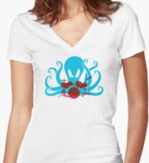 Octo Drummer Women's Fitted V-Neck T-Shirt