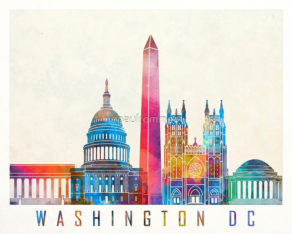 Washington DC landmarks watercolor poster by paulrommer