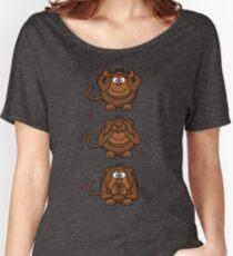 Cartoon Monkey Hears, Sees, Speaks No Evil! Women's Relaxed Fit T-Shirt