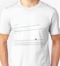 Lonely kookaburra on wire white sky minimal T-Shirt