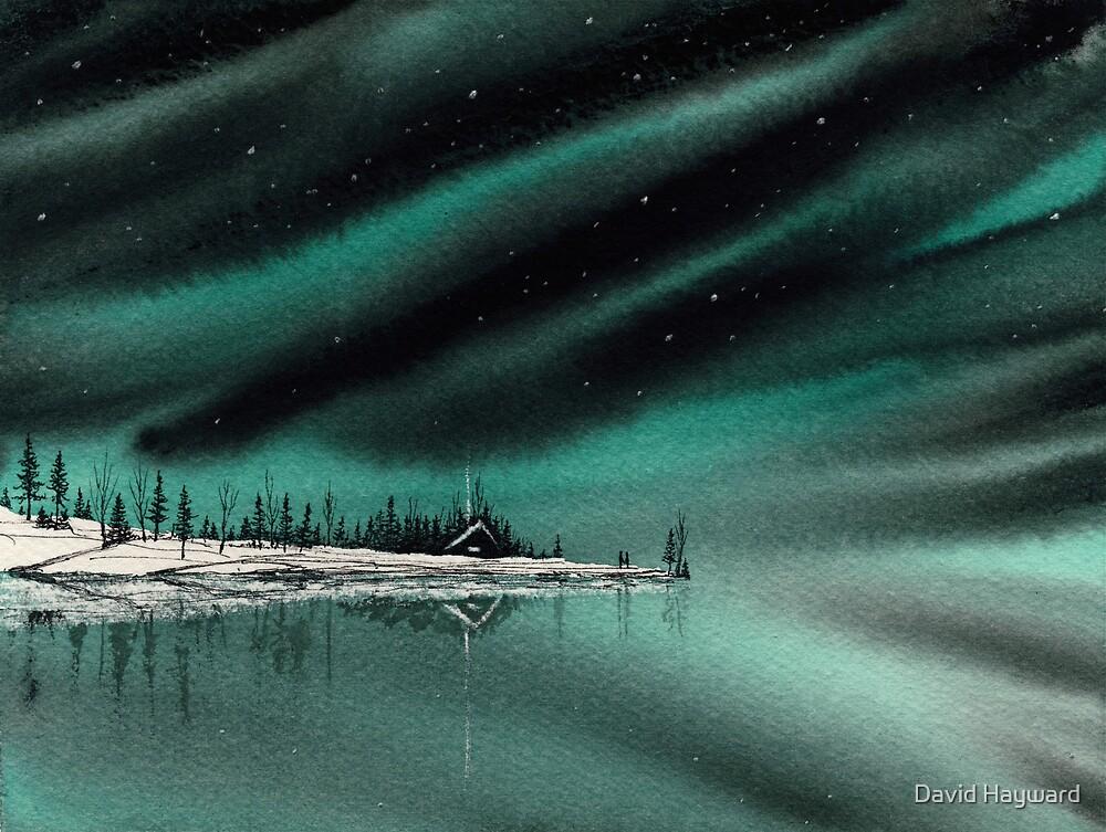 Northern Light Lake Cabin by David Hayward