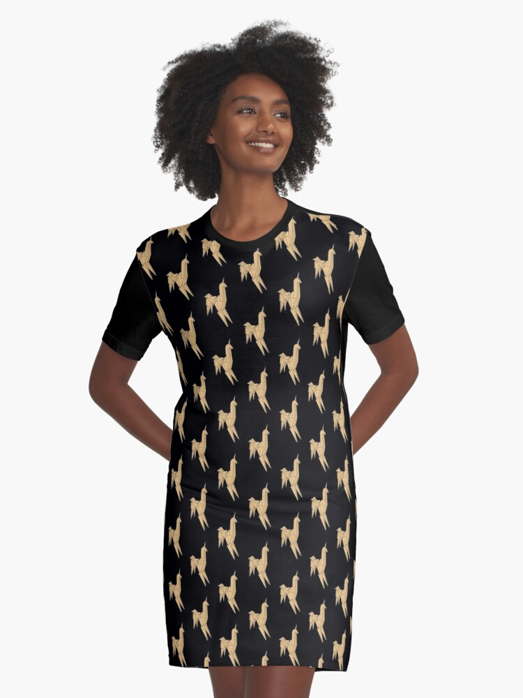 Blade Runner - Brushed Gold Unicorn Graphic T-Shirt Dress Front