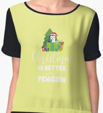 Christmas Penguin with Presents winter-Design Women's Chiffon Top