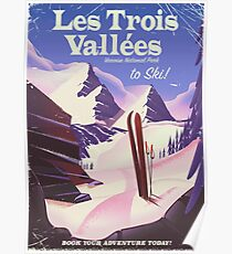 Les Trois Vallées Ski Reiseplakat Poster