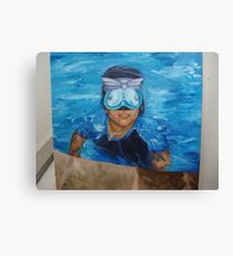 chris in the pool Canvas Print