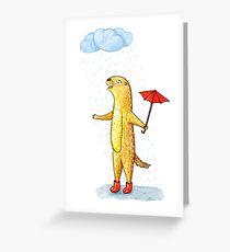 Happy gopher under rain Greeting Card