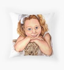 Blond Haired Girl Throw Pillow