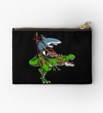 Ninja Shark Riding T-Rex Dinosaur Funny Samurai Studio Pouch