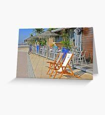 beach bar. windsurf. cafe. surf school Greeting Card