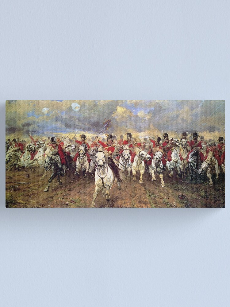 Alternate view of Scotland Forever! 1881, Battle of Waterloo, Lady Butler, Charge of the Royal Scots Greys. Canvas Print