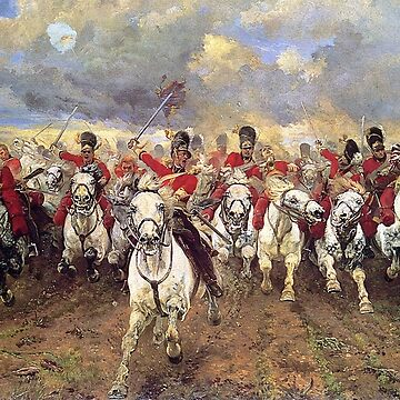 Scotland Forever! 1881, Battle of Waterloo, Lady Butler, Charge of the Royal Scots Greys by TOMSREDBUBBLE
