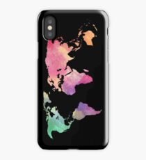 rainbow watercolor continents iPhone Case/Skin