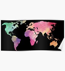 rainbow watercolor continents Poster