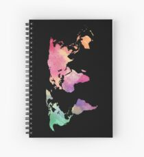 rainbow watercolor continents Spiral Notebook