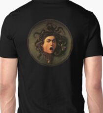 Medusa, venomous snakes in place of hair, Michelangelo, Gorgon, monster, Greek Mythology, Caravaggio, on BLACK Unisex T-Shirt