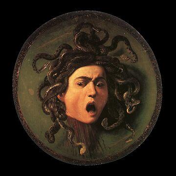 Medusa, venomous snakes in place of hair, Michelangelo, Gorgon, monster, Greek Mythology, Caravaggio, on BLACK by TOMSREDBUBBLE