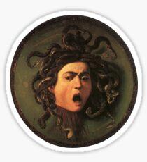 Pegatina Medusa, serpientes venenosas en lugar de cabello, Miguel Ángel, Gorgona, monstruo, Mitología griega, Caravaggio, en NEGRO