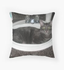 The Cat's Tub Throw Pillow
