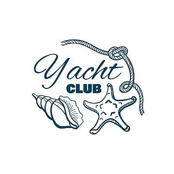 Yacht Club Badge With Seashells by Chesnochok