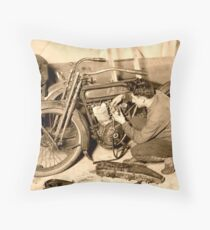 WWI Era Military Motorcycle Mechanic at Work Throw Pillow