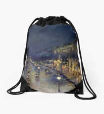 Camille Pissarro - Montmartre at Night Drawstring Bag