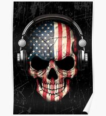 Dj Skull with American Flag Poster