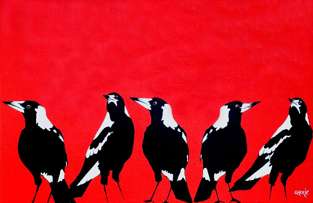 Magpies by CherieStrongArt