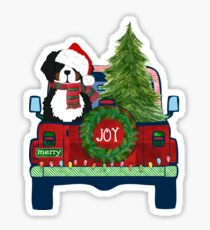 Cute Bernese Mt Dog Christmas Jeep Berner Puppy Sticker
